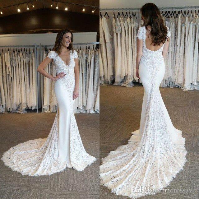 Sexy V Neck Lace Mermaid Wedding Dresses Cap Sleeves Court Train Vestidos De Novia Custom Made Wedding Bridal Gowns Custom Made