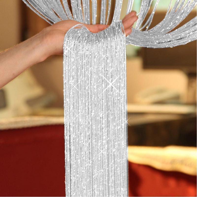 200 X100cm Shiny Tassel Flash Silver Line String Curtain Window Door Divider Sheer Curtain Valance Home Decoration