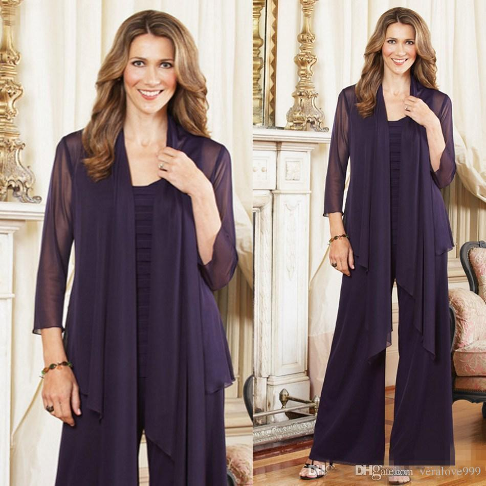 Modest 2018 Grape Chiffon Pleats Mother Of Bride Pant Suits With Long Sleeve Jacket Plus Size Custom Made Evening Party Suits