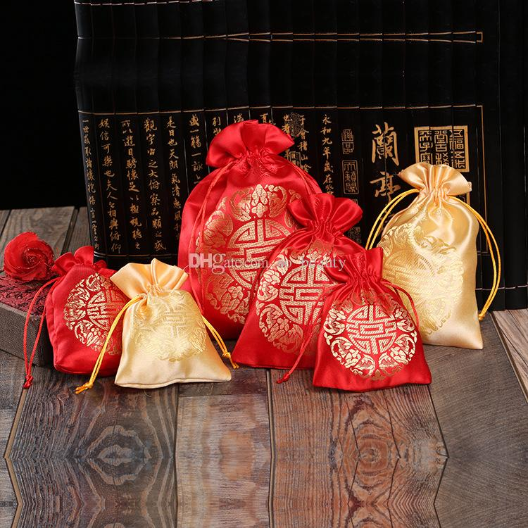 50pcs Traditional Chinese Satin Drawstring Bags XI Pouches For Wedding Party Favor Candy Bags Gift Package Bag Red or Gold