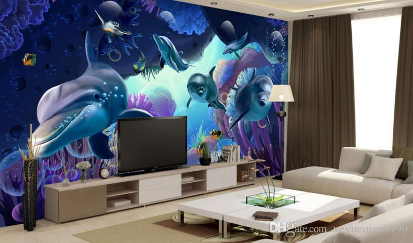 Personalizado del delfín papel tapiz 3d sala de estar decoración foto no tejido papel tapiz moderno telón de fondo de TV