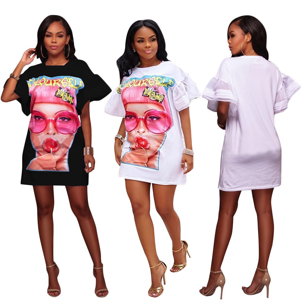 2018 Casual NEW Women Vintage Bohemian Floral Print Long Top Blouse T Shirt Loose Mini Short Dress Beauty Girl Plus Size