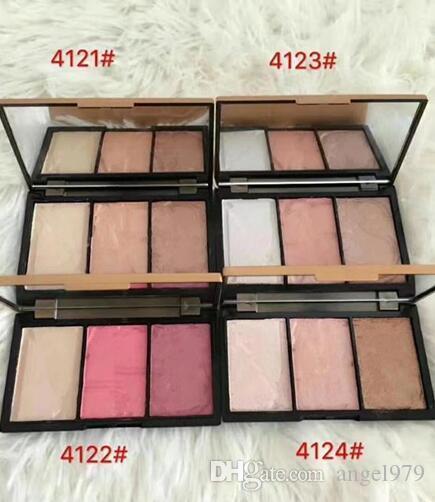 Spedizione gratuita ePacket! Nuovo trucco professionale di marca 3 colori diversi 4mixed Face Blush Powder in polvere naturale