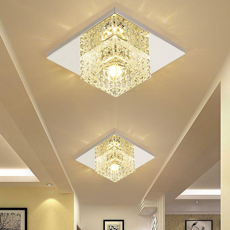 Sanat galerisi Dekorasyon Ön Balkon Lambası Sundurma Işık Koridorlar Işık Donanımı ile 5W LED Spot Kare Kristal Koridor Tavan Işık