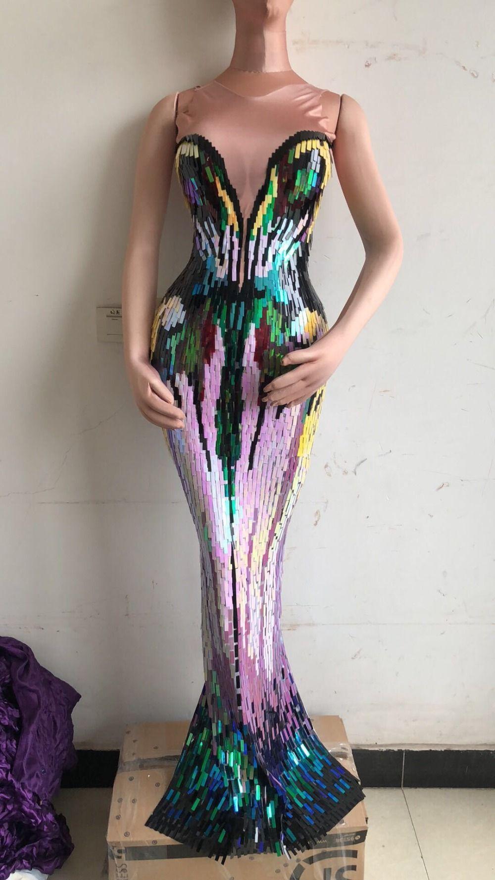 großhandel bunte pailletten langes kleid damen abend party wear luxuriöse  stretch kleid prom geburtstag feiern weibliche sängerin kleider von