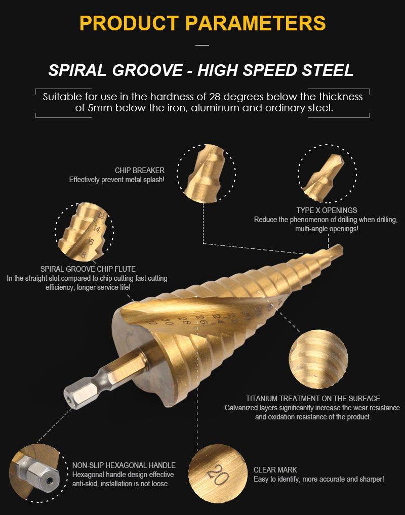 Freeshipping 3Pcs/lot 4-12/20/32mm Cone Drill Step Drill Bits High Speed Steel Step Drill for Metal Woodworking Titanium Step Bit Tools