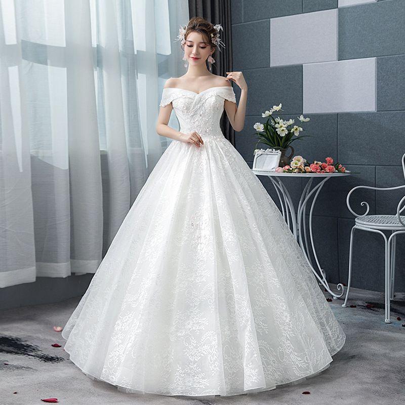 Mingli Tengda лодка шеи свадебное платье плюс размер 2018 элегантный Принцесса мечта свадебное платье с плеча кружева бальное платье свадебное платье