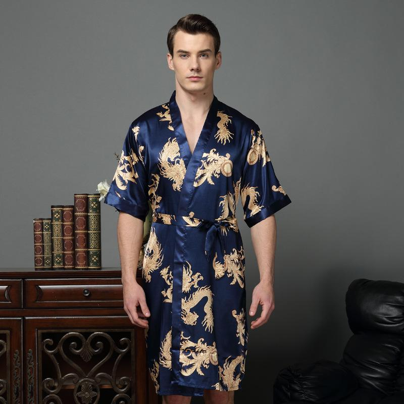 Chinese Dragon Male Silk Dressing Gown Mens Satin Robe Robe With ...
