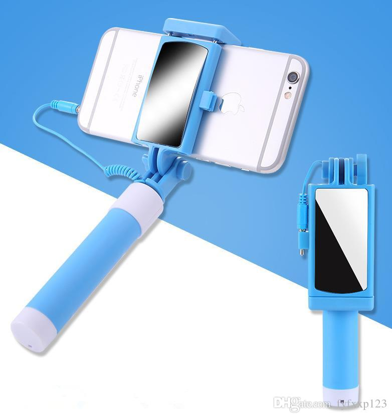 Selfie Monopods Portable Mini Selfie Stick Cell Phone Clip Holder All IN ONE Cable Take Pole Wired Control Monopod For iPhone Samsung a854