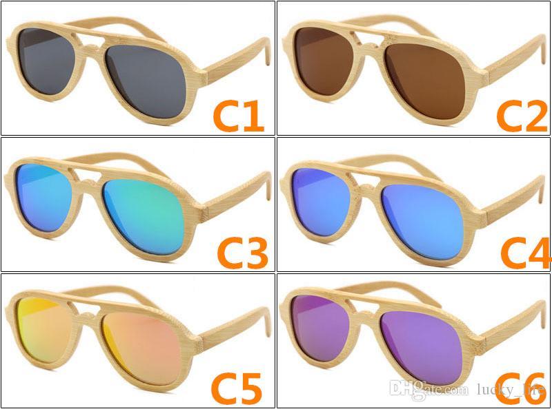 10 ADET Polarize Moda Klasik Ahşap Güneş Erkekler Bambu Sunglass Kadınlar Marka Tasarım Spor Gözlük El Yapımı Ayna Güneş Gözlükleri Ücretsiz Gemi