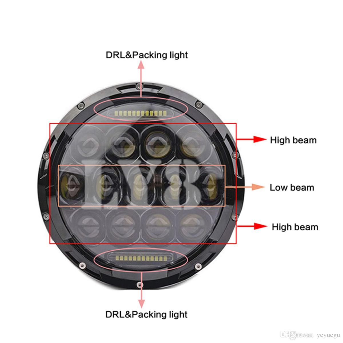 La voiture ronde d'ECAHAYAKU 12v 75w 7inch a mené le phare salut / bas avec le drl pour le moteur de harley de défenseur de jeep hummer