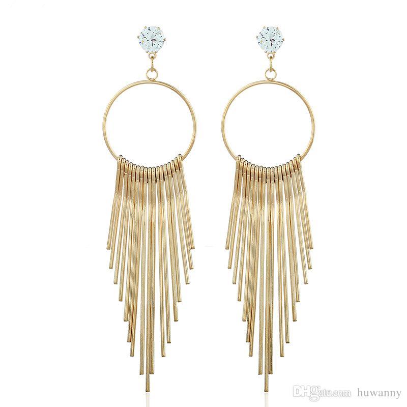 Gold Drop Earrings for Women Girl Vintage Tibetan Metal Tassels Dangle and Chandelier Earrings Fashion Jewelry Wholesale - 0809WH