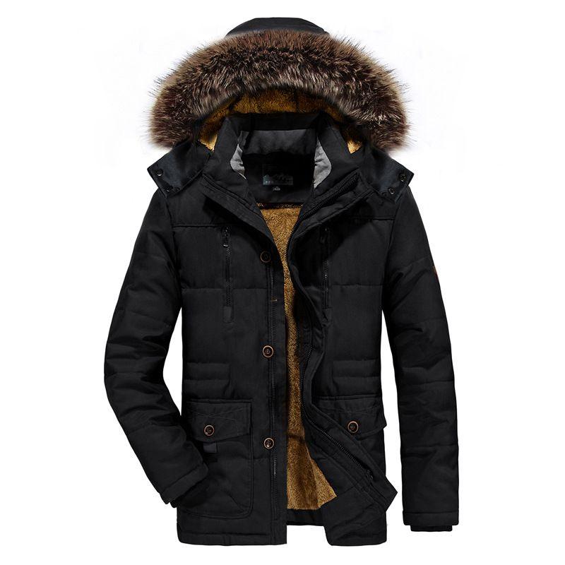 ICPANS Parka Jacket Men Long Fur Winter Parka Men Coats Plus Warm Black Zipper Jacket Mens Plus Size XXXL 4XL 5XL 6XL