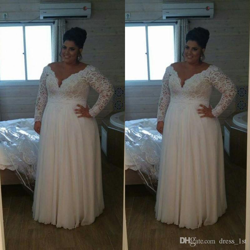 Discount Super Plus Size Wedding Dresses V Neck A Line Floor Length Pretty  Water Soluble Lace And Chiffon Vintage Long Sleeve Bridal Gowns Wedding ...