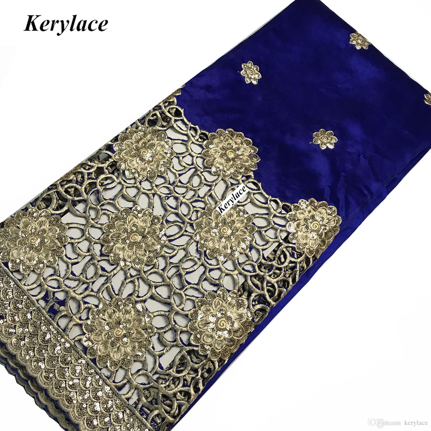 5 Yards Sewing Craft Embroidered Nigerian George Lace High Quality Raw Silk African George Fabric Women Dress French Sequins Fabric KRL-9000