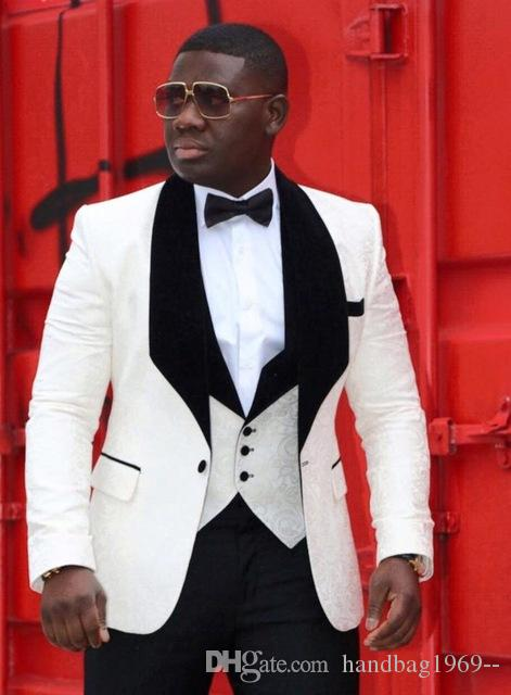 Groom Tuxedos One Button Ivory Shawl Lapel Best Man Suits Wedding Groomsman Men Wedding Suits Bridegroom (Jacket+Pants+Vest+Tie) K:92