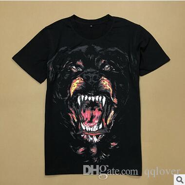 Nova Marca Tide Tshirt Casal Clássico Mal Cabeça De Cão Impressão T Camisa Em Torno Do Pescoço Solto T-shirt de Manga Curta