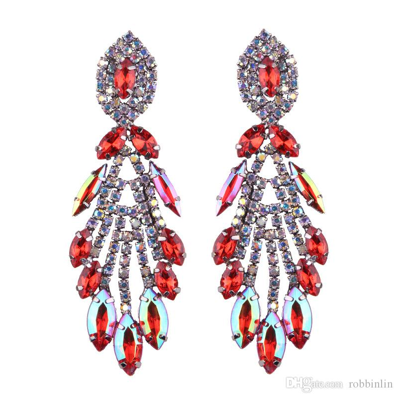 Big Design Luxury Water Drop Pendent Crystal Stud Gem Statement Earrings Jewelry 5 Colors 1 Pair for Women