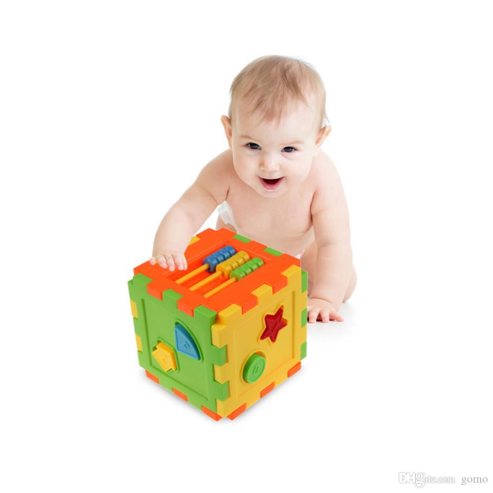 Baby Sortierkasten Spielzeug Kunststoff Bunte Quadratische Ziegelsteine Passende Blöcke Baby Intelligenz Lernspielzeug für Kinder Geschenk