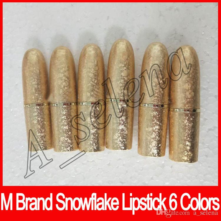 Newest M brand Lip cosmetics Selena Christmas limited edition bullet lipstick snowflake lipstick paste with triangular ELLE BELLE