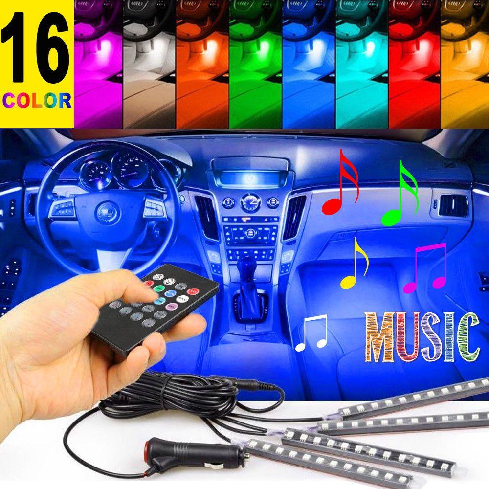4PCS 12 LED SMD 5050 Ambiente del interior del coche lámpara auto 12V RGB luces de neón tira de la música de control remoto IR + Nuevo