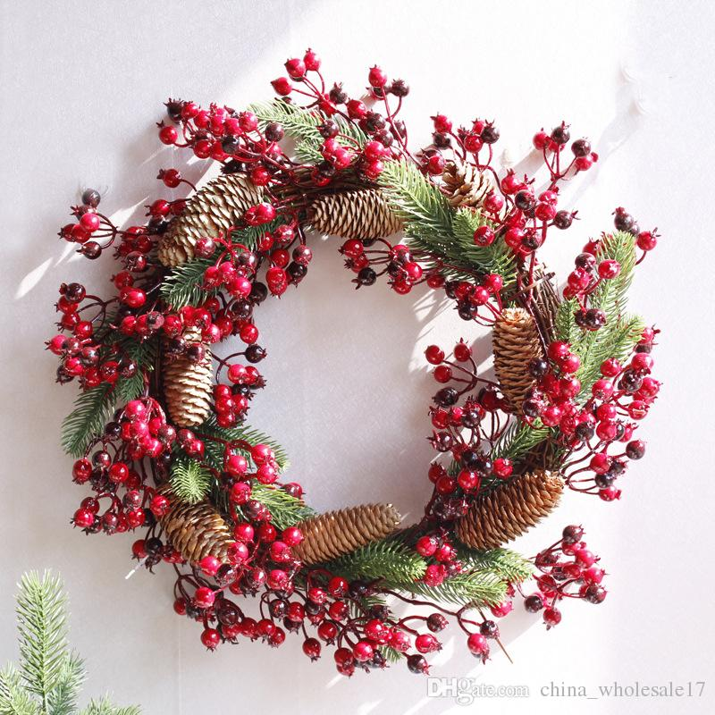 Christmas Wreath.2019 Christmas Wreath Artificial Plant Vine Berry Wreath Natural Pine Fruit Simulation Wreath Christmas Decoration For Home Door From Free Life03