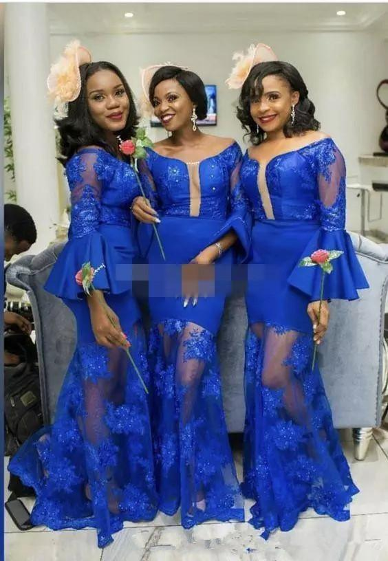 Royal Blue African Mermaid Bridesmaid Dresses Lace Stain Long Bell Sleeves  Sexy Plus Size Nigerian Wedding Party Dresses Custom Made Asian Bridesmaid  ...