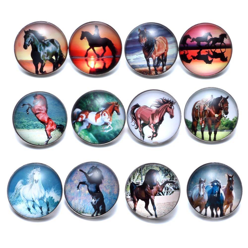 12 unids / lote caballo tema encantos de cristal 18 mm botón a presión de joyería para 18 mm encaje broches pulsera joyería de KZ0677