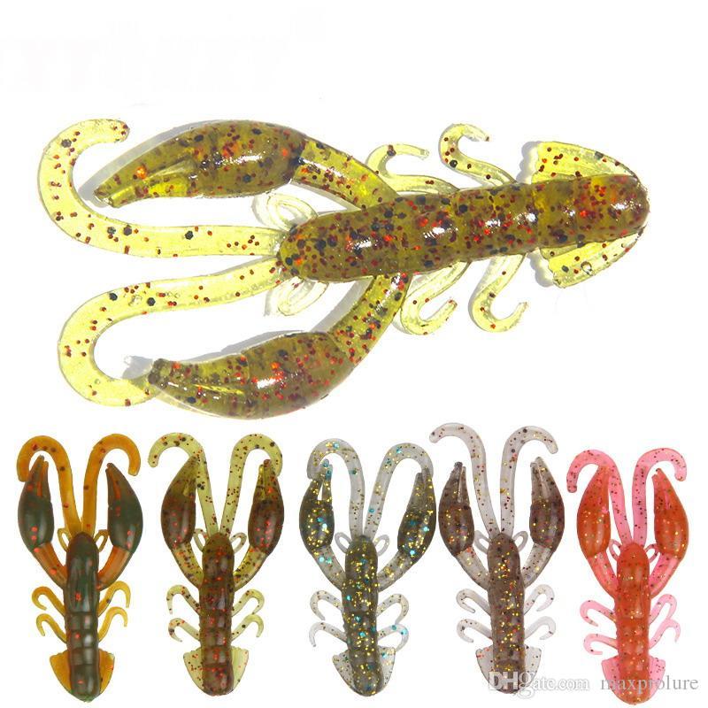 25 unids cebos de camarón suave señuelos de pesca 5 cm 2g Jigging wobbler giratorio señuelo de la pesca gusanos de pesca camarón olor de la sal bajo pesca aparejos