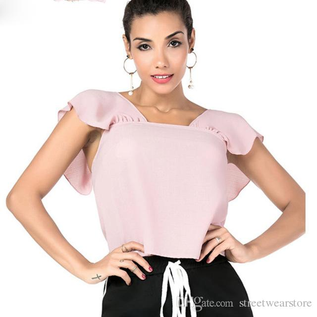Tendências Blusas de Verão Mulheres Blusa Chemise Camisas de Manga Curta Rosa Tops
