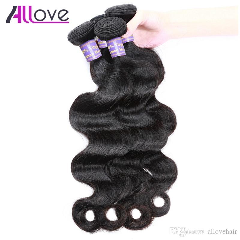 El pelo de la onda del cuerpo teje los paquetes del pelo de la Virgen de la India peruana 8A paquetes de pelo brasileños baratos 10PCS venden al por mayor el envío libre para las mujeres negras
