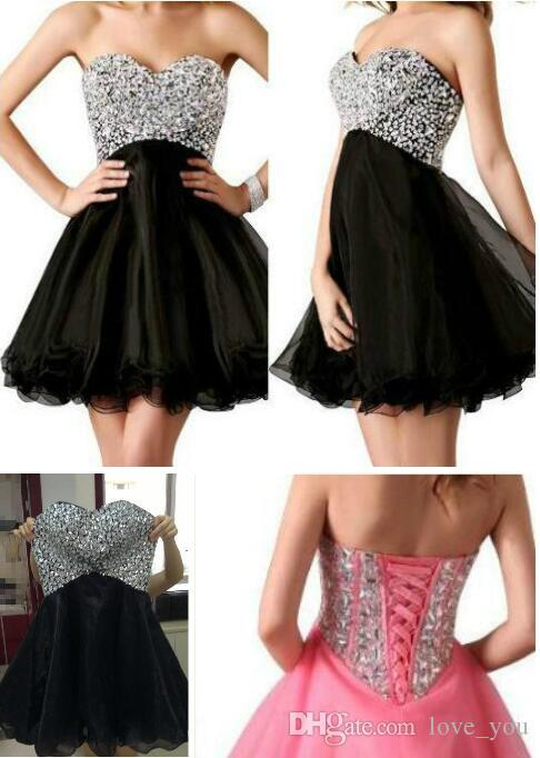 Cheap Homecoming Dresses Shinning Sequin Sweetheart A Line Short Organza Cocktail Party Gowns New Hot Sale cocktail dresses