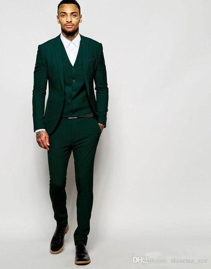 Último Verde Oscuro Novio Smokings Padrinos de boda por encargo Mejor Hombre Trajes Mens Wedding Party Suits (Jacket + Pants + Vest)