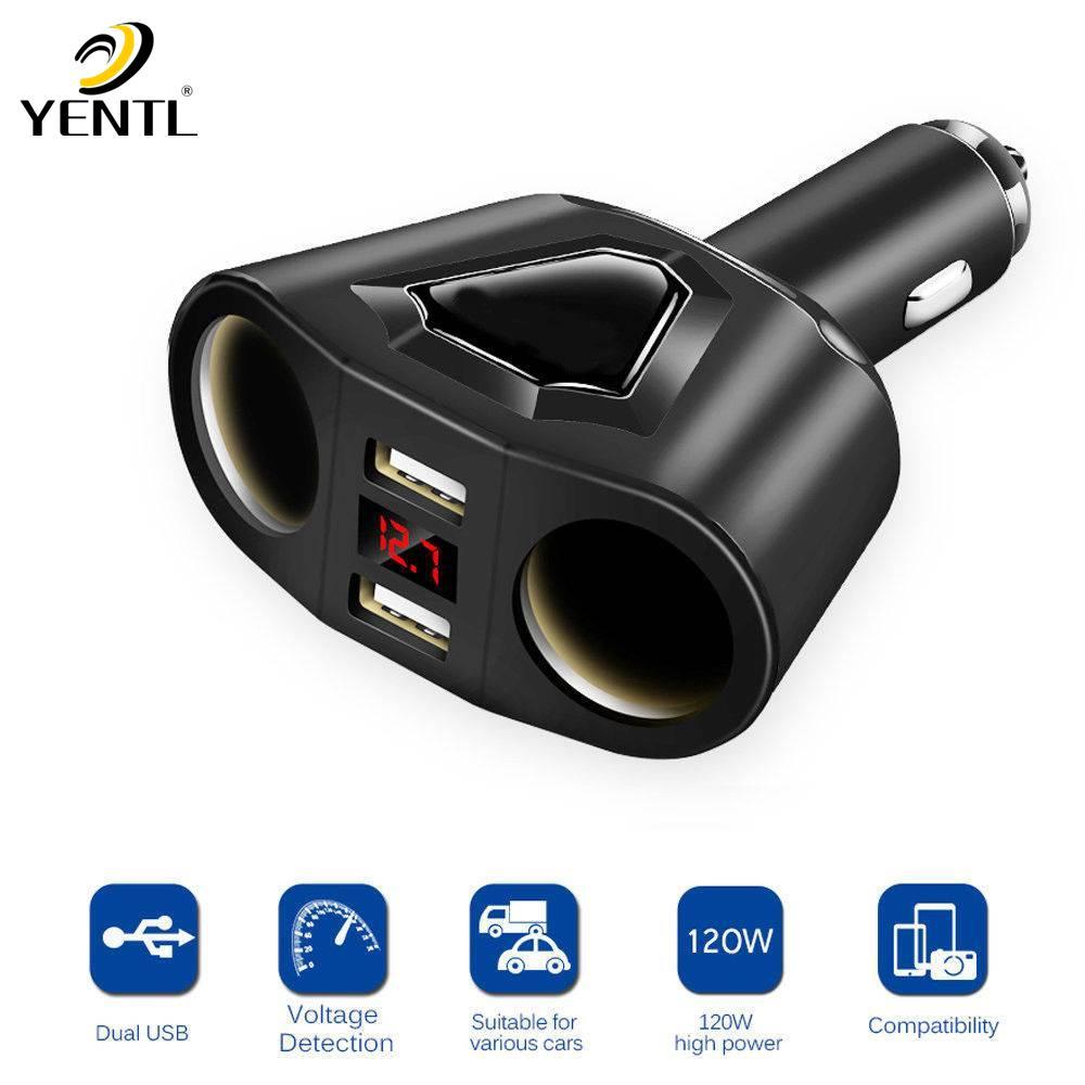 YENTL freies verschiffen Dual USB Ladegerät 2 Way Auto Zigarettenanzünder Splitter Adapter Port 2 Way für Splitter DC 12 24 V fabrik dropship