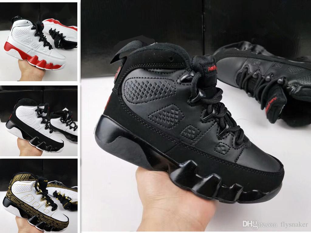Оптовая 9s LA Oreo детская баскетбольная обувь черная белая обувь Space Jam PE 9s спортивный тренер Детские кроссовки мальчик девочка подарок 28-35