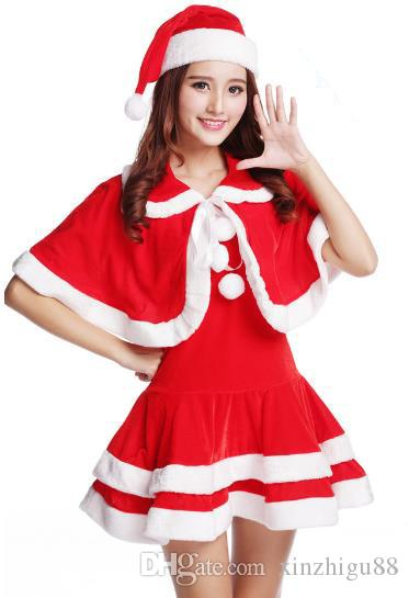 Christmas costumeHot new Christmas girl adult rabbit girl sexy coz ball red Santa Claus clothes all size
