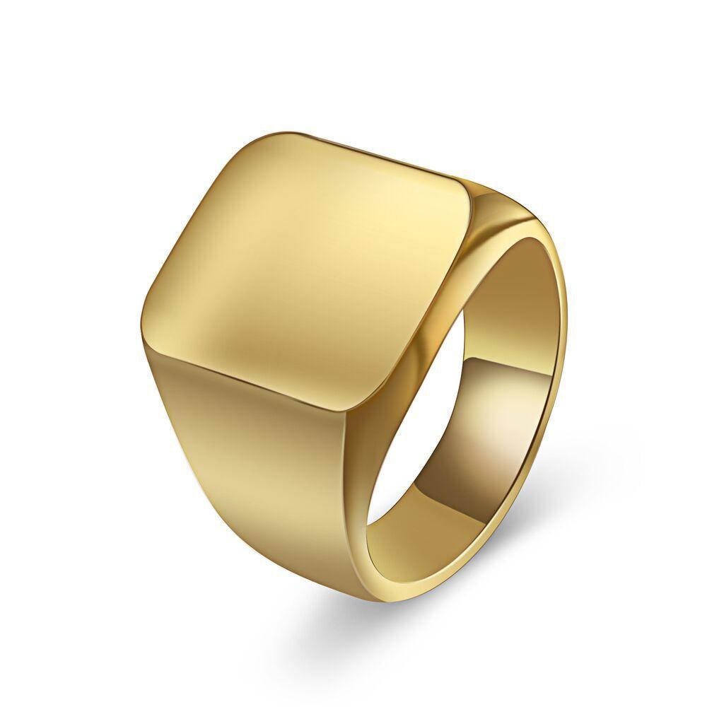 18mm Largo Semplice Anello quadrato Acciaio inossidabile Anelli a fascia Argento Nero Colore oro Maschio Anello Gioielli Anelli per uomini Gioielli di design
