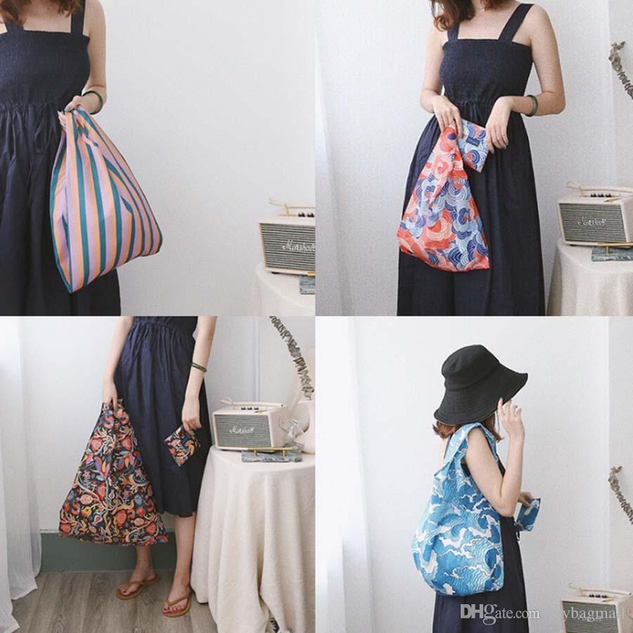 고품질 일본식 4 색 레이디 여성용 대용량 나일론 슈퍼마켓 쇼핑 백 핸드 숄더 백