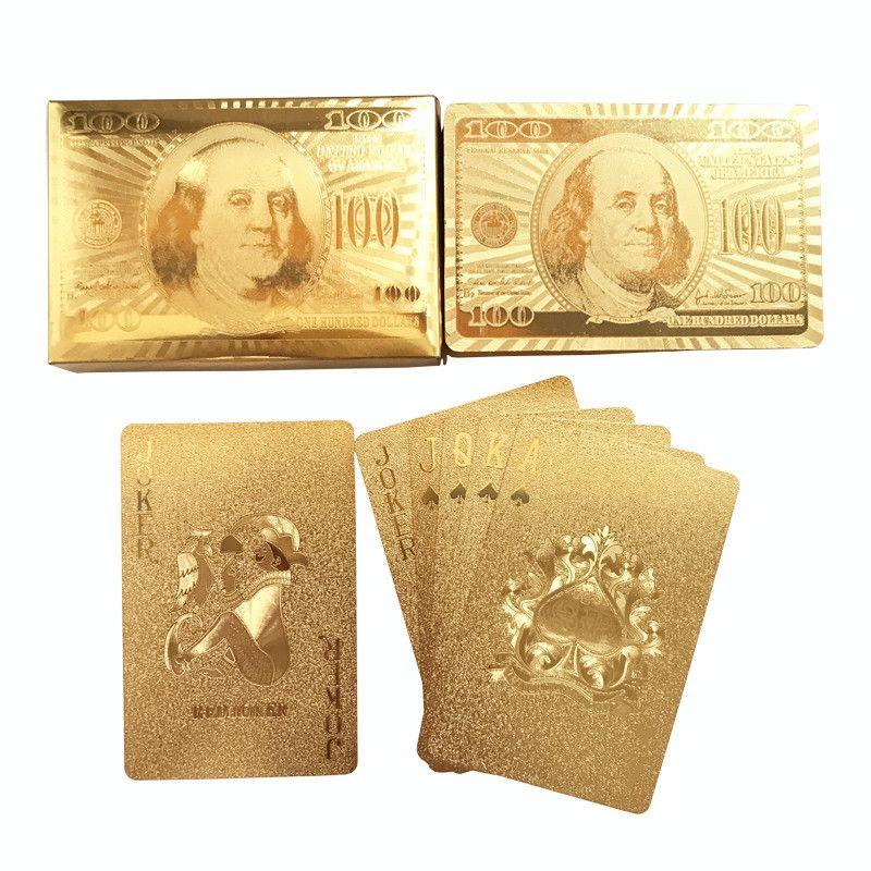 Yüksek Kalite 24 Karat Altın Folyo Kaplama Texas Hold'em Plastik Iskambil Kartları Su Geçirmez Poker Kartları Masa Oyunları 58 * 88mm qenueson