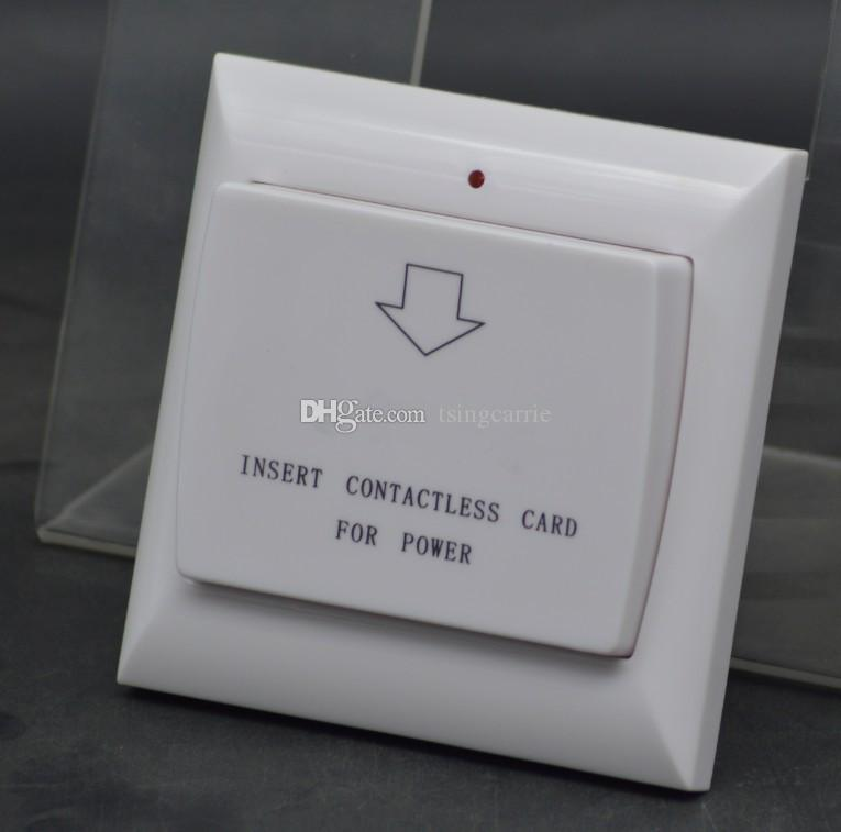 Commercio all'ingrosso Max 40A 13.56 Mhz RFID Keycard Switch Energy Controlled Unità Energy Saver Tensione AC 180 ~ 250 v, 2 Colori Hotel Wall Switch
