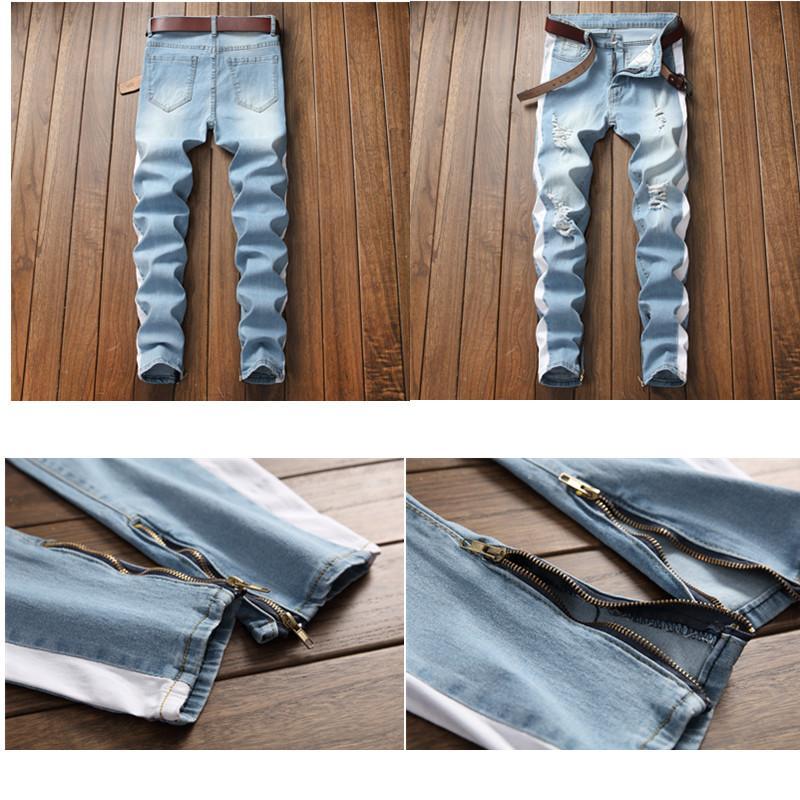 2018 Men's Jeans Top Quality Slim Fit Blue Color Destroyed Ripped Patches Jeans For Men Coat Brand Designer Biker Jeans Homme