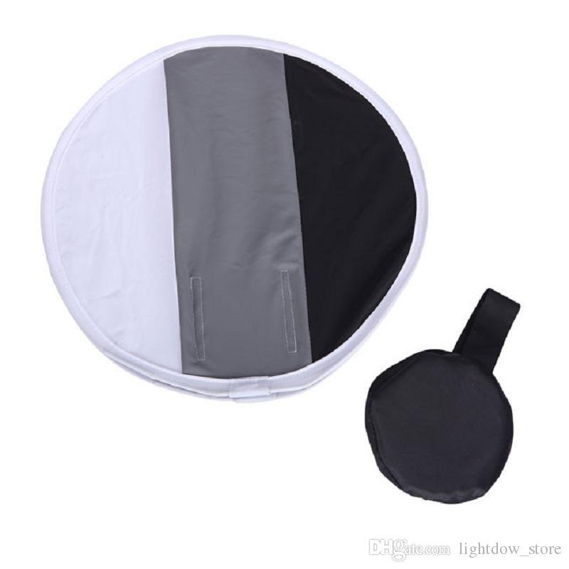 30cm Portable 2 in 1 Gray Card Diffuser+Round Softbox Dual Purpose for Canon Nikon Sony Speedlite Flash Light White Balance Soft Box