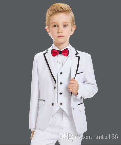 Özel beyaz tek göğüslü erkek takım elbise üç parçalı takım elbise (ceket + pantolon + yelek) çocuk dans partisi elbise elbise