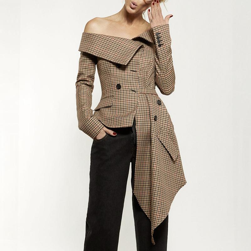 Plaid Blazer Top Donna Irrgular Patchwork Slash Neck manica lunga Lace up Women Jacket Coat 2018 Autunno Moda L18101302
