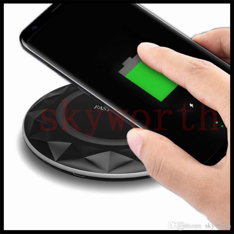 Para Iphone 8 X Qi Fast Cargadores inalámbricos Pad Diamantes Ultradelgada LED Cable de luz USB para Samsung S7 Edge S8 Plus Nota 8