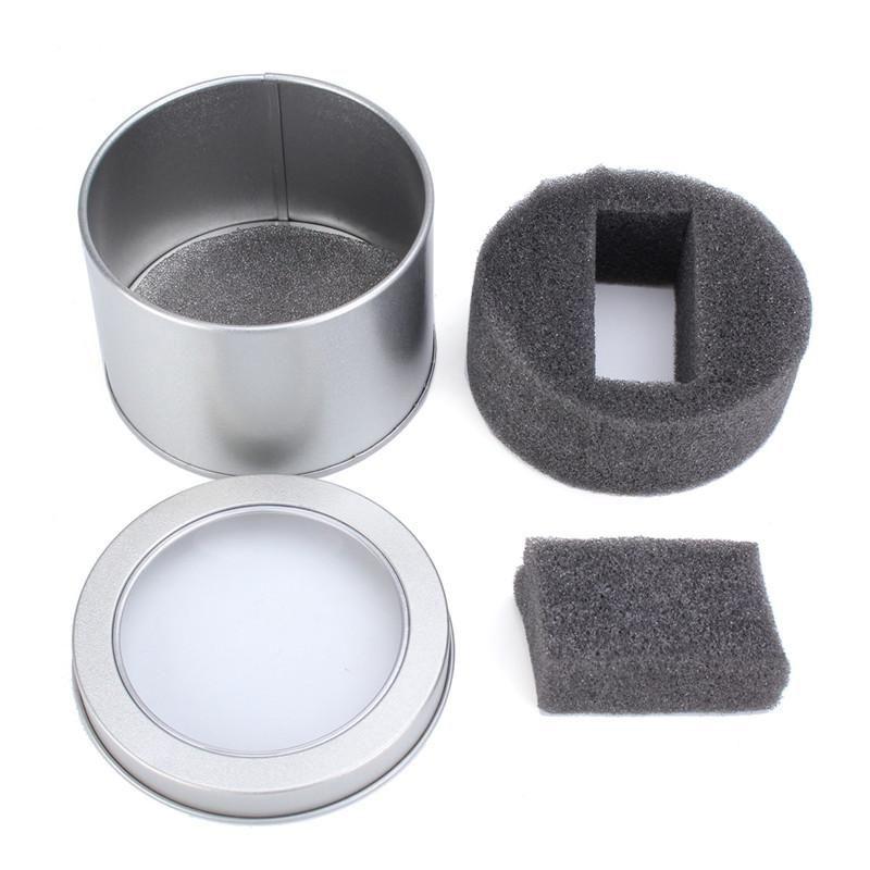 Scatola all'ingrosso Scatole per imballaggio per orologi in metallo argento Scatole per contenitori rotondi per orologi