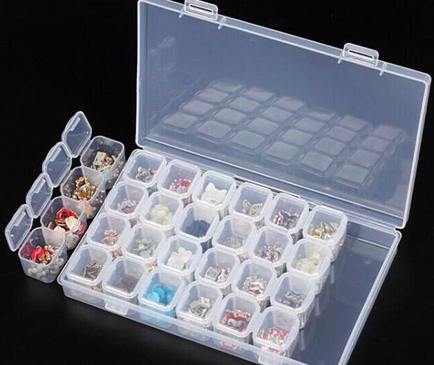 NEW ARRIVAL Clear Plastic 28 Slots Empty Storage Box Nail Art Rhinestone Tools Jewelry Beads Display Storage Box Case Organizer Holder