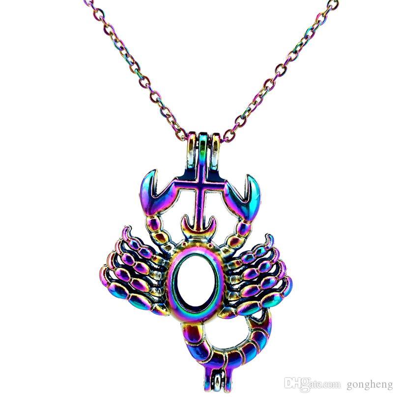 C182 Rainbow Color Scorpio Zodiac Beads Cage Ciondolo Olio Essenziale Diffusore Aromaterapia Collana Gabbia Perla Ciondolo Medaglione