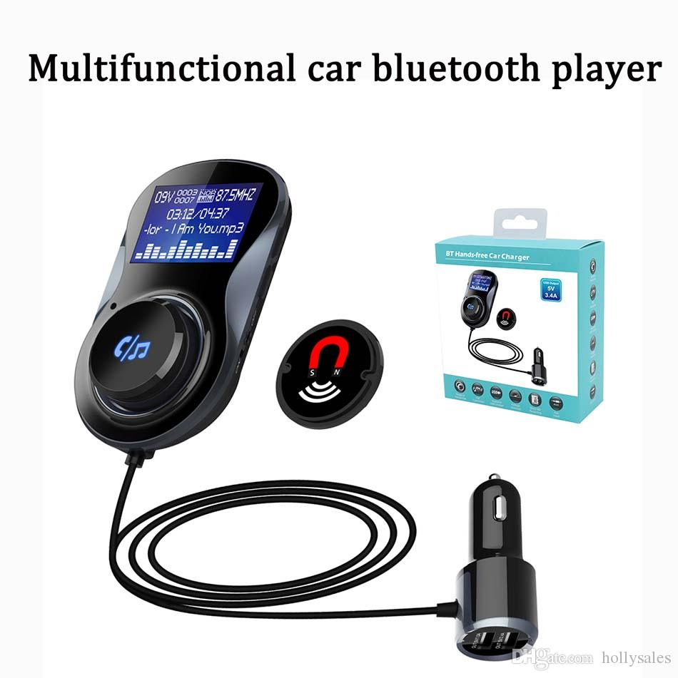 multifunctional 3 in 1 dual usb 5v 3.4A car charger 1.4 inch display FM transmitter SD card MP3 music player handfree car device kit