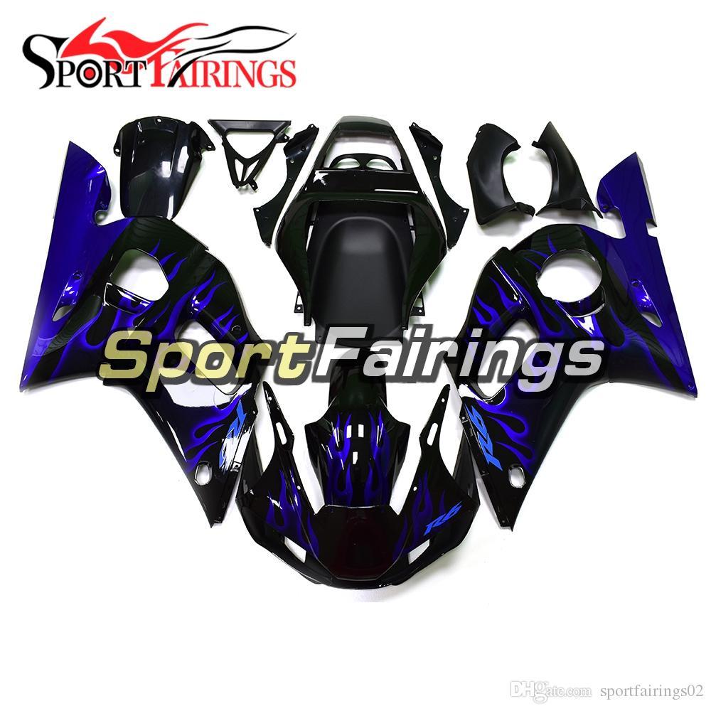 Nero Blu Flames carenature iniezione per copertine Kit Yamaha YZF600 YZF R6 98 99 00 01 02 1998-2002 plastica ABS per moto carene
